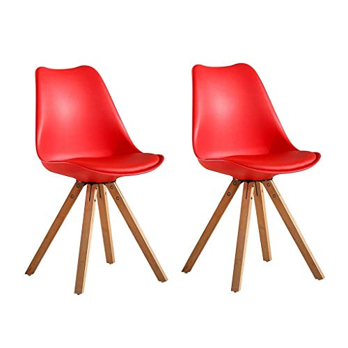 HYRGLIZI Leatherette Padded Cushion Kitchen Chairs, Set of 2 Soft Leather Dining Chairs Seat and Back with Wood Legs for Dining Room and Living Room (Color : Red)