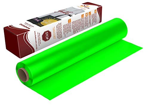 Firefly Craft Vinylfolie zum Aufbügeln in Neongrün, fluoreszierendes grünes HTV-Vinyl zum Aufbügeln für Cricut und Silhouette, 1,5 m x 3,8 m Rolle, Hitzepresse-Vinyl für Hemden