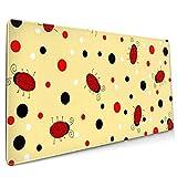 Gaming Mauspad XXL (900 x 400 x 3 mm) Schreibtischunterlage extended mousepad Office Tischunterlage groß mit gel Rubber (Ladybug)