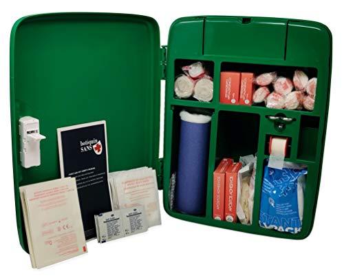 Botiquín Armario de primeros auxilios, para pared, equipado con 95 artículos, verde