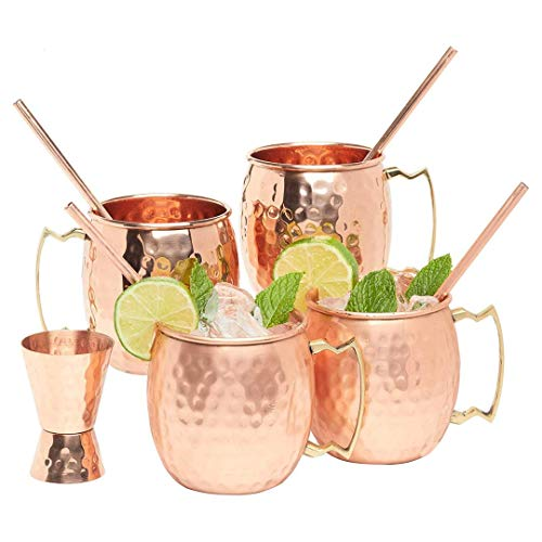Kitchen Science Artisan Hand Crafted Moscow Mule Pure Copper Mugs 16 Ounce with BONUS - Your 4 pure copper cups set come with 4 copper Straws and a copper Jigger