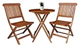 BTEXPERT AM5177 3 Piece Round Coffee Folding Table Patio Bistro Set Two Chairs, Solid Wood, Outdoor Living Spare Balcony Desk, Natural Acacia