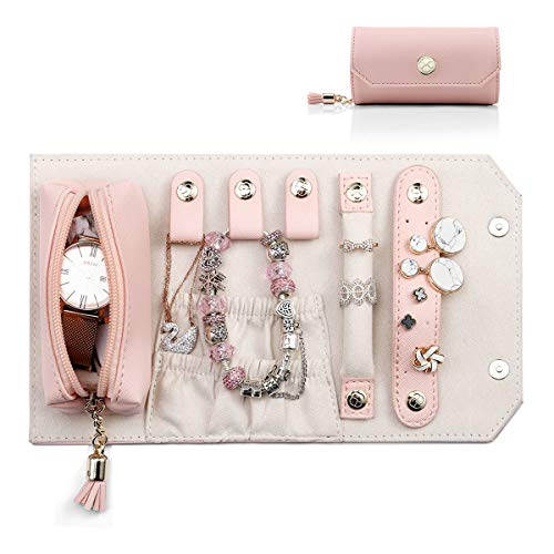 Vlando Small Travel Jewellery Roll Organizer, Rolling-up Necklaces Earrings Rings Storage Holder for Daily Holiday Vocation Wearing, Pink