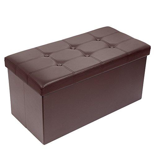 Meerveil Coffre de Rangement Pliable, Bac de Rangement en Simili Cuir Ottoman Confortable Cube de Repose-Pieds Banc d'Éponge avec Boucle (Marron, 76_x_38_x_38_cm)