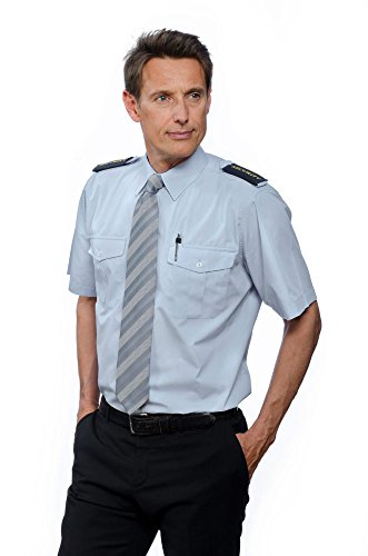 Nordhandel Mittellblaue Pilotenhemden, Kurzarm, mit abnehmbaren Schulterklappen