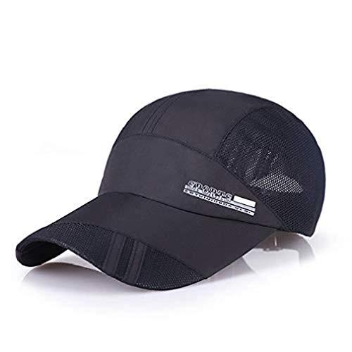 Sombrero Deportivo | Casquette Transpirable, Ligero y de Secado rápido | Chapeu Letter Mesh Hombre Gorras | Gorra de béisbol para Correr al Aire Libre | Impermeable (Negro)