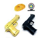 Unkonwn 2 Pieces of Desert Eagle Rubber Band Gun Portable Metal Folding 12-Shot Rubber Band Gun and 500+ Elastic Rubber Band (Black or Gold)