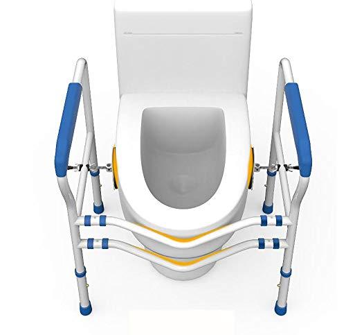 SXTYRL Estructura de Apoyo para Inodoro, Ayuda de Soporte de Marco de Seguridad para baño Independiente Altura Ajustable Ayuda para el Inodoro y Barra de Apoyo, White