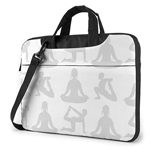 15.6 Inch Funda Bandolera Maletín para Portátil Maletín de Hombro para Negocio Viaje Yoga Deporte Pose Gris Siluetas