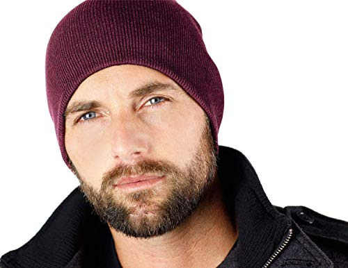 "Everything Black 9"" Skull Cap Beanie That Will Fit Your Head Perfect Maroon"