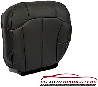 us auto upholstery Compatible with 2002 Chevy 2500HD 3500 LT Z71 Driver Side Bottom Leather Seat Cover Dark Gray