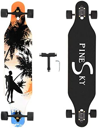 PINESKY 41 Inch Longboard Skateboard 8 Ply Natural Maple Complete Skateboard Cruiser for Cruising, Carving, Free-Style and Downhill with T-Tool