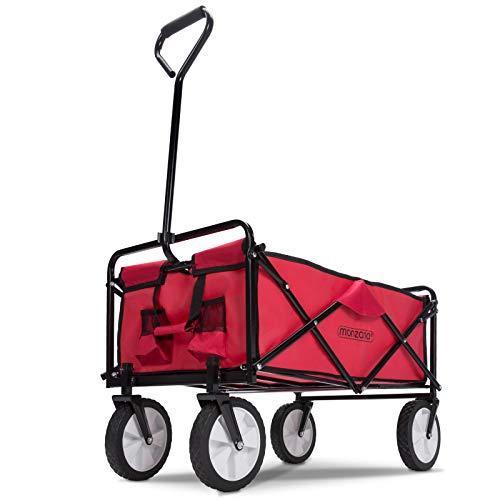 Deuba Bollerwagen faltbar bis 100kg 360° Vollgummireifen 2 Getränkehalter Handwagen Gartenwagen Transportwagen Strandwagen rot