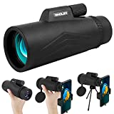 WHOLEV 12x50 Monocular Telescope for Smartphone, BAK4 Prism Waterproof Monocular with Zoom, Low Night Vision, Phone Adapter, High Power Vision for Bird Watching, Hunting, Camping, Gaming.