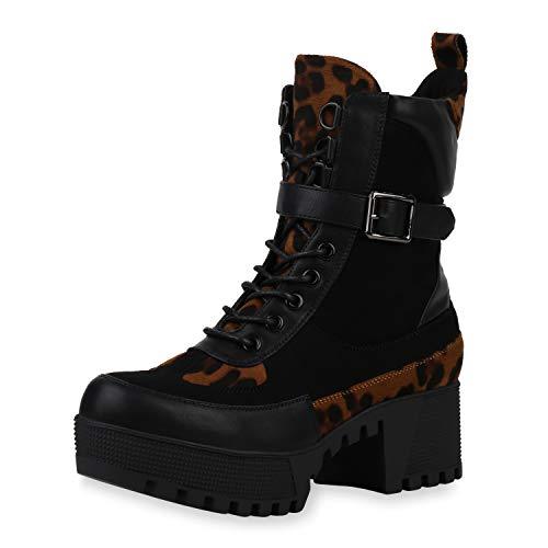 SCARPE VITA Damen Stiefeletten Plateau Boots Leicht Gefütterte Stiefel Animal Prints Blockabsatz Schuhe 187036 Schwarz Leo 40