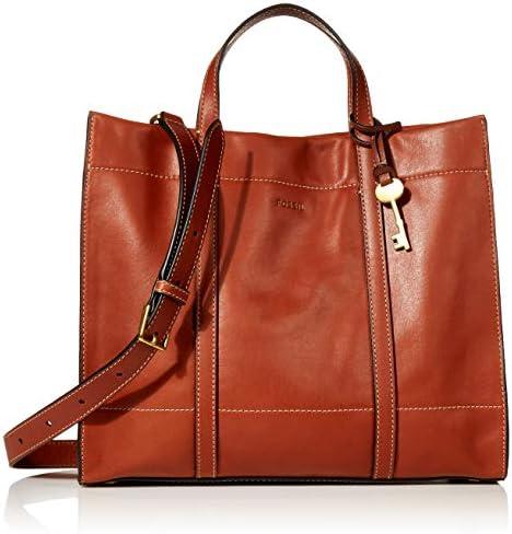 Fossil Women s Carmen Leather Shopper Tote Handbag Brandy product image