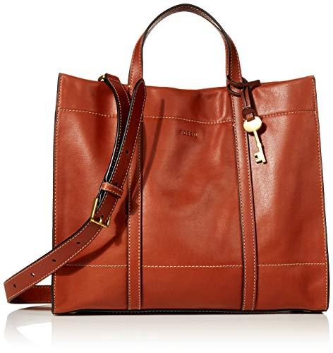 Fossil Women's Carmen Leather Shopper Tote Handbag, Brandy