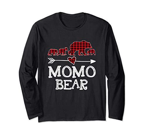 Momo Bear Christmas Pajama Red Plaid Buffalo Family Gift Long Sleeve T-Shirt