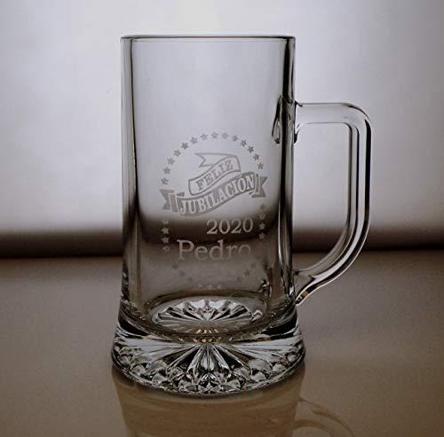Arte-Deco Jarra DE Cerveza Stern GRABADA Y Personalizada para JUBILACIÓN. Jarra 520 ML con Estuche, Regalo para cumpleaños, Hombre, Mujer y Cualquier celebración