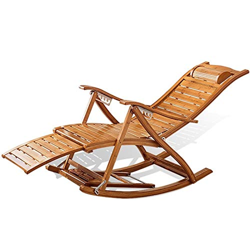 YNLRY Startseite Adult Rocking Chair Folding Mittagspause Lounge Chair Sommer Nap Hause Balkon Ältere Stuhl Massage-Stuhl (Color : Wood Color, Size : 40CM*95CM)