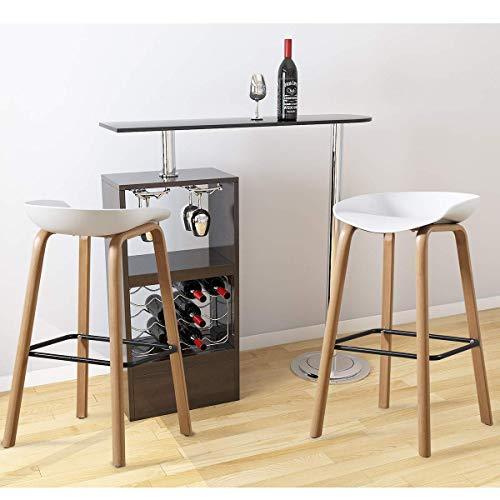 PXX Barhocker Set Von 2 Ergonomisches Design Barhocker Frühstück Bar Stuhl Küchentheke Bar Stuhl Heim Pub Stuhl Runde Curved Sitz Für Pub (Schwarz),Weiß