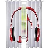 Cortinas para dormitorio, Audífonos con forma de corazón con símbolo de nota clave Melodía Diseño artístico, W52 x L63 Blackout ventana drapeada para dormitorio, rojo, negro y gris