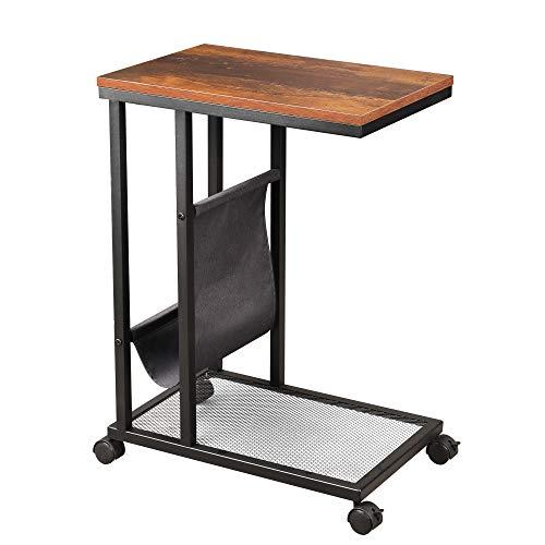 WLIVE Industrial Beistelltisch, mobiler Beistelltisch für Kaffee-Laptop-Tablet, Tisch in Akzent-C-Form mit Netzregal und Seitentasche für Schlafsofa, Wohnzimmer oder Schlafzimmer, rustikale O9-Eiche