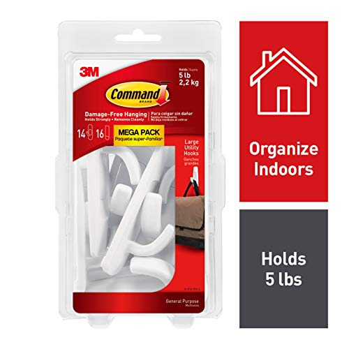 Command White Hooks, White, 14 hooks, 16 strips, Indoor Use (17003-MPES)