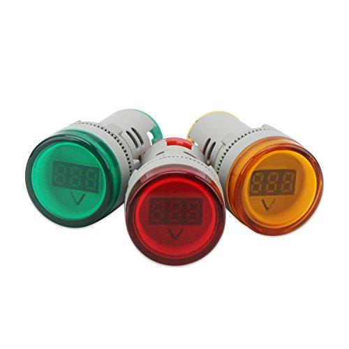 AC Voltage Display, DROK 3pcs Digital LED Display Voltmeter AC 20-500V Voltage Meter Monitor 110v 220v Volt Detetor Green Red Yellow Signal Indicator Light Panel