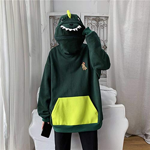 Women'S Top Jacket Long-Sleeved Stitching Hedging Dinosaur Pockets Loose Fashionable Cute Comfortable Daily All-Match Casual Sweater