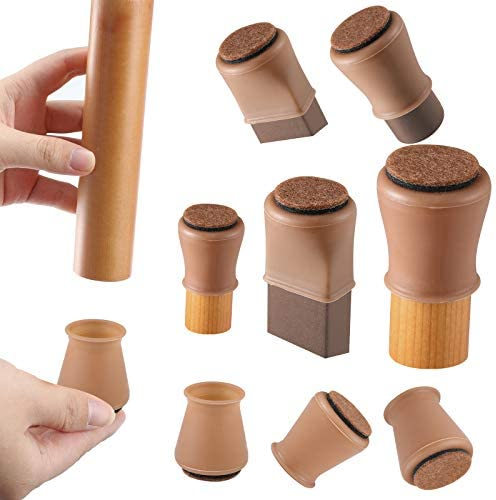 Brown Silicone Chair Leg Floor Protectors with Felt Chair Leg Caps Silicon Furniture Leg Feet product image
