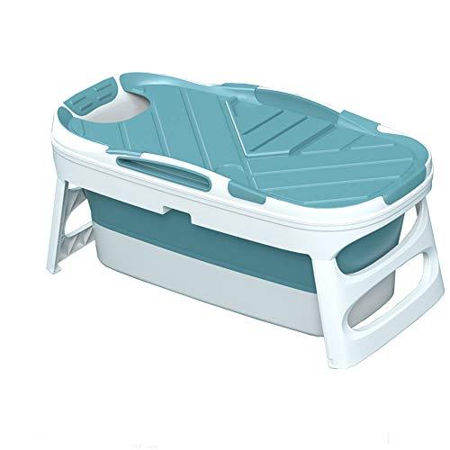 Erwachsene Und Kinder Faltenbadewanne Tragbare Erwachsene Falten Schwimmbad Große Freistehende Badewanne, Grün, 125 Cm Ohne Abdeckung,Blau