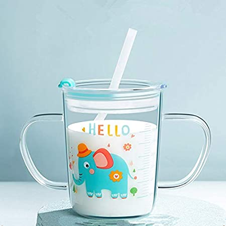 Glass Milk Cup With Measuring Milk Juice Iced Tea Coffee Measuring Jug With Lid And Silicone Straw for kids 350 ML Heat-Resistant Tempered Glass Water Cup Scale Measure Mug For Microwave