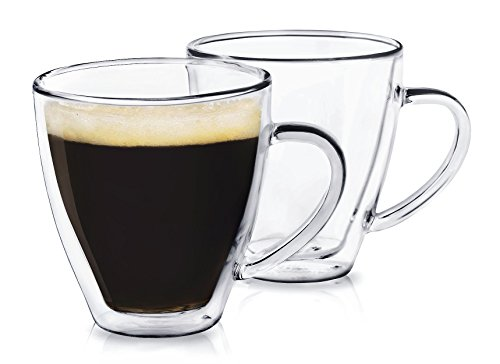 Dragon Glassware Espresso Cups, Insulating Double Walled Glass, 6-Ounce, Set of 2