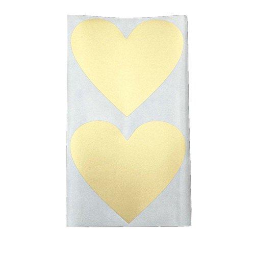 Zantec 50pcs 60 * 70mm goldenes Herz Kratzer weg Aufkleber, kreative Mitteilung verstecken Postkarte