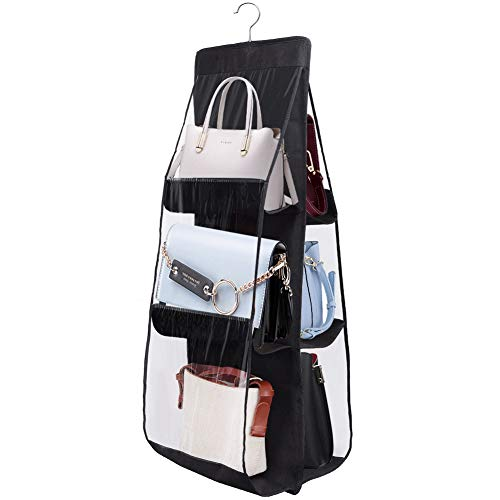 Portaborse da Armadio Storage Bag a 6 Scomparti Grandi, Non Tessuto Trasparente Sistema di Sospensione per Borsetta (Nero)