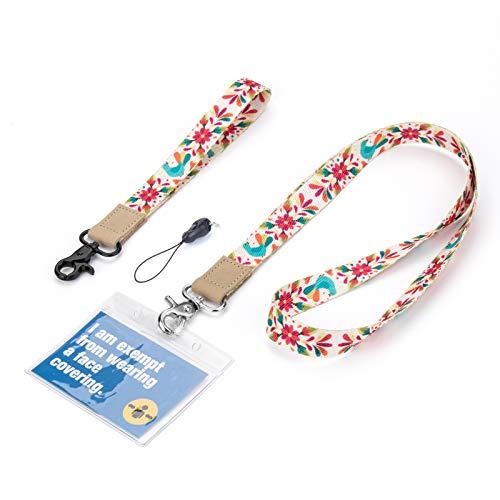 Cordón con porta-identificación, HONEYWHALE Cordones de cuero para el cuello y la mano, para la oficina, llaveros para profesores, hombres y mujeres (coloridos)