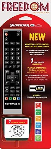 Telecomando universale TV, DVD, SAT, DTT, decoder HiFi, VCR, Media, Blu-ray, HDD programmabile dall'utente in 1 minuto da pc con cavo di programmazione fornito in dotazione - comanda fino a 4 apparecchi - programmabile all'infinito con tutte le funzioni dell'originale - software in continuo aggiornamento, mai obsoleto - compatibile con oltre 260000 modelli di tutte le marche esistenti - philips - samsung- lg - toshiba - panasonic - sharp - my tv - easy living - telesystem - sony - akay - hitachi - mivar - digiquest - majestic - audiola - united - hisense - whirlpool - sanyo - visionic - - blaupunkt - trevi - daewoo - electrolux - fujitsu - haier - inno-hit - teac e moltissimi altri
