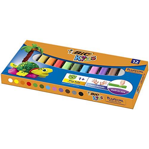 BIC Kids Plastiline klei, verschillende kleuren, 12 stuks
