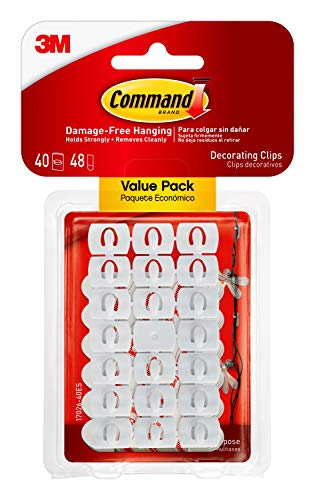 Command Small Decorating Clips, White, 40-Clips, 48-Strips, Decorate Damage-Free