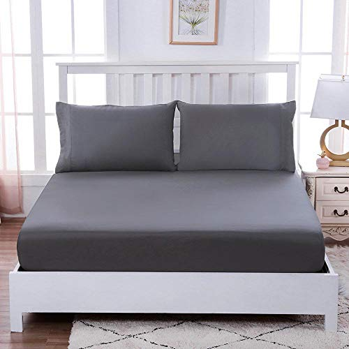 Cxssxling - Sábana bajera ajustable (90 x 200 cm, algodón, antiarrugas, extensible, transpirable, suave para proteger colchones, gruesa, sábana bajera de 30 cm, colchón grueso, gris, 120 x 200 cm