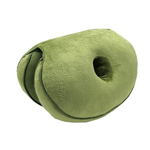 TTYAC Ademend dikker zitkussen orthopedische spons latex stoel massage stoel dubbele vouwen kussen vloer pluche zitmat leger Groen, spons