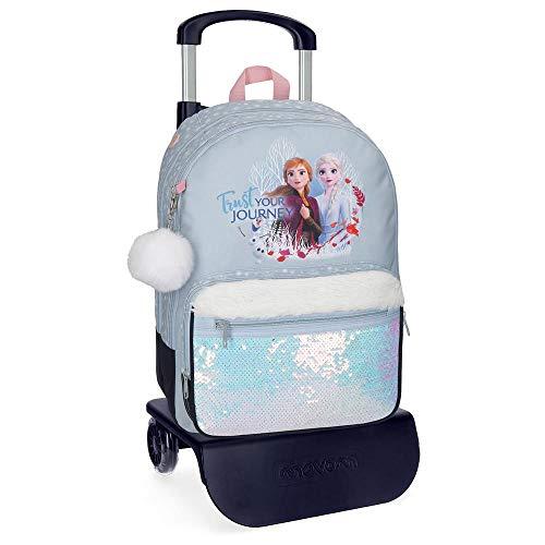 Disney Mochila Escolar Trust Your Journey 42 cm con Carro, Azul