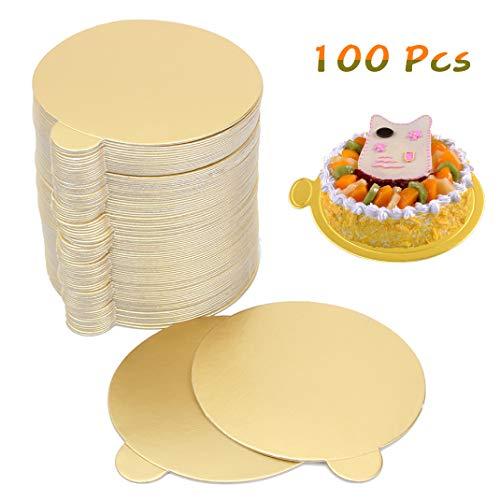 iSuperb 100PCS Bandeja Redonda para Tartas Tablas de cartón para postres y postres Ronda Mousse Cake Boards
