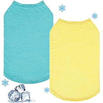 Dog Cooling Shirt 2 Packs - Quick Dry Soft Breathable Stretchy Shirt Self Cooling Absorb Water and Evaporate Quickly Sleeveless Vest for Small Medium Dogs Cats Puppy