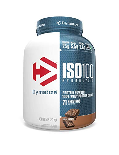 Dymatize ISO100 Hydrolyzed Protein Powder, 100% Whey Isolate Protein, 25g of Protein, 5.5g BCAAs, Gluten Free, Fast Absorbing, Easy Digesting, Fudge Brownie, 5 Pound