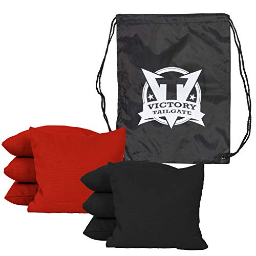Victory Tailgate 8 Colored Corn Filled Regulation Cornhole Bags with Drawstring Pack (4 Red, 4 Black)