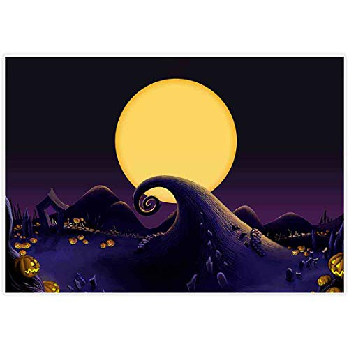 Allenjoy 7x5ft Nightmare Before Christmas Themed Backdrop for 2019 Halloween Pumpkin Jack Theme Birthday Baby Shower Photo Studio Photography Pictures Background Party Home Decor Decoration Shoot