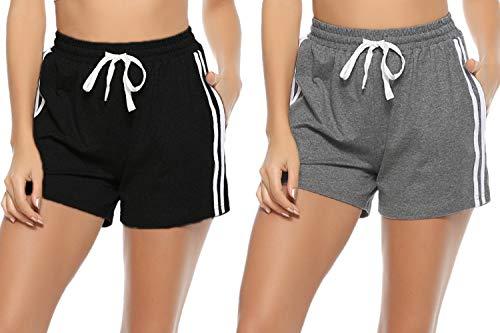 Hawiton Damen Shorts Sport, Jogginghose für Damen Laufshorts Sporthose Yoga Kurze Hose Sweatpants Baumwolle Shorts Schlafanzughose für Fitness, Running, Yoga, Wandern, Gym, Tanzen