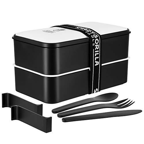 Smart Gorilla Tools - Bento Box | Japanische Lunchbox für den Transport deiner Mahlzeiten | Alternative zur Brotdose, Brotzeitbox und Vesperdose | Kinder & Erwachsene | auslaufsicher & BPA frei